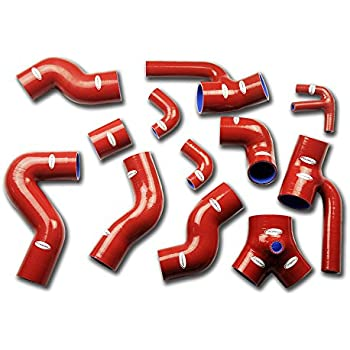 TT Racing Red Silicone Turbo Boost Hose Kit for Audi S4 B5 2.7L V6 Bi-Turbo 2xDOHC 97-02 TT1063RE