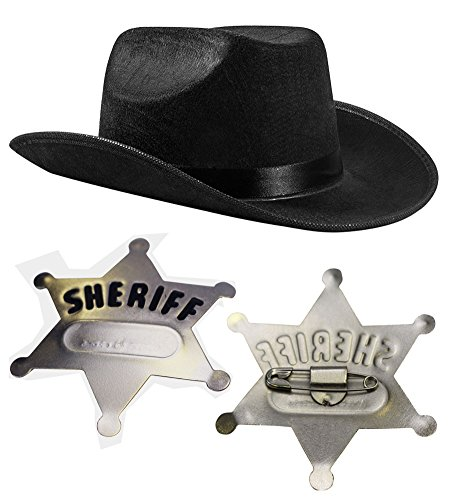 Children Cowboy Set- Black Child s Cowboy Hat with Sheriff Badge - Funny Party Hats®