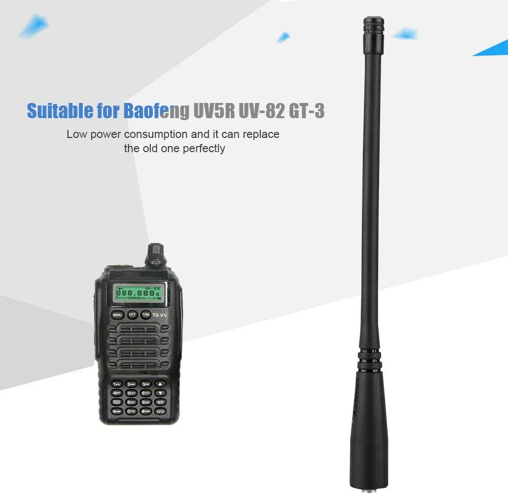 Oumij Antena Walkie Talkie SMA-Hembra UHF/VHF 136-174/400-520 MHz para Baofeng UV5R UV-82 GT-3.