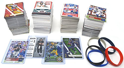 800 Football Cards: Carson Wentz, Brady, Rodgers, Beckham, Russell Wilson Guaranteed + 5 Wristbands Gift Bundle