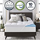 Sleep Innovations 4-inch Dual Layer Gel Memory Foam Mattress Topper with Enhanced Support, Queen, Made in The USA with a 10-Year Warranty