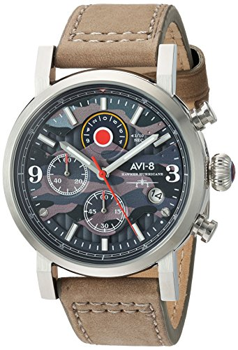 AVI-8 Men's 'Hawker Hurricane' Quartz Stainless Steel and Leather Aviator Watch, Color:Beige (Model: AV-4041-05)
