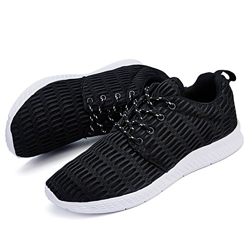 Fashion up Lace Casual Sports Walking Sneakers Athletic Men Shoes Lightweight GOMNEAR Black Breathable c8q6II