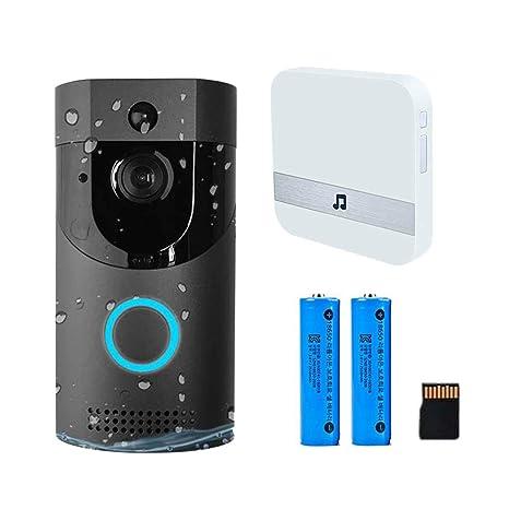 KOBWA WiFi Timbre de Video, Tarjeta SD de 32GB y baterías Timbre de la Puerta inalámbrico Cámara Inteligente de Seguridad con WiFi Audio Talk 720p HD ...