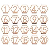 MACTING 4.7 x 5 Inch Wooden Table Numbers 1-20 for Wedding Reception Decoration