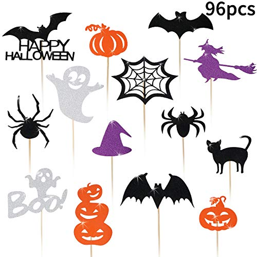 Cupcake Decorations For Halloween (Blulu 98 Pieces Halloween Cupcake Toppers Bat Pumpkin Ghost Witch Cake Picks Halloween Food Picks for Halloween Party Favors Birthday)