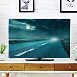 iPrint LCD TV Cover Multi Style,Horror House Decor,Highway Road to Hell Under Storm Clouds Asphalt Twilight Terror Image Artwork,Blue,Customizable Design Compatible 42' TV