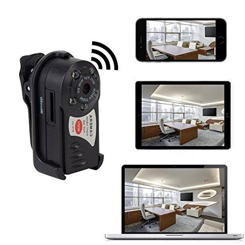 Mini Übwerwachungskamera mit 16GB Micro SD Karte, Xingan Kabellose HD P2P WiFi Versteckte IP Kamera mit Aufzeichnung für Innen / Außen Sicherheits, Unterstützt iPhone / Android Smartphone / Tablet und PC , Schwarz