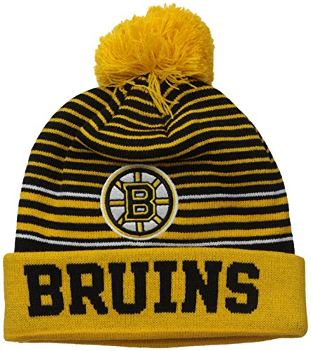 NHL Boston Bruins Youth Jayce Cuffed Knit Hat with Pom, One Size, - Youth Hat Knit