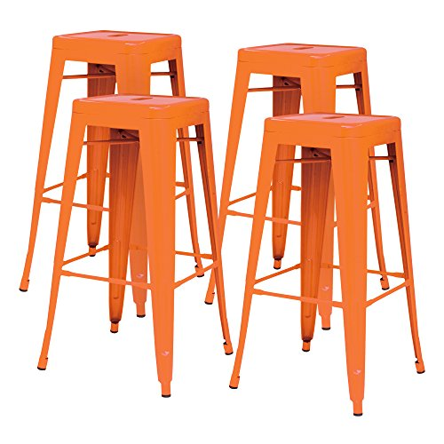 New Pacific Direct Metropolis Metal Backless Counter Stool 26  Indoor Outdoor Ready Orange Set Of 4