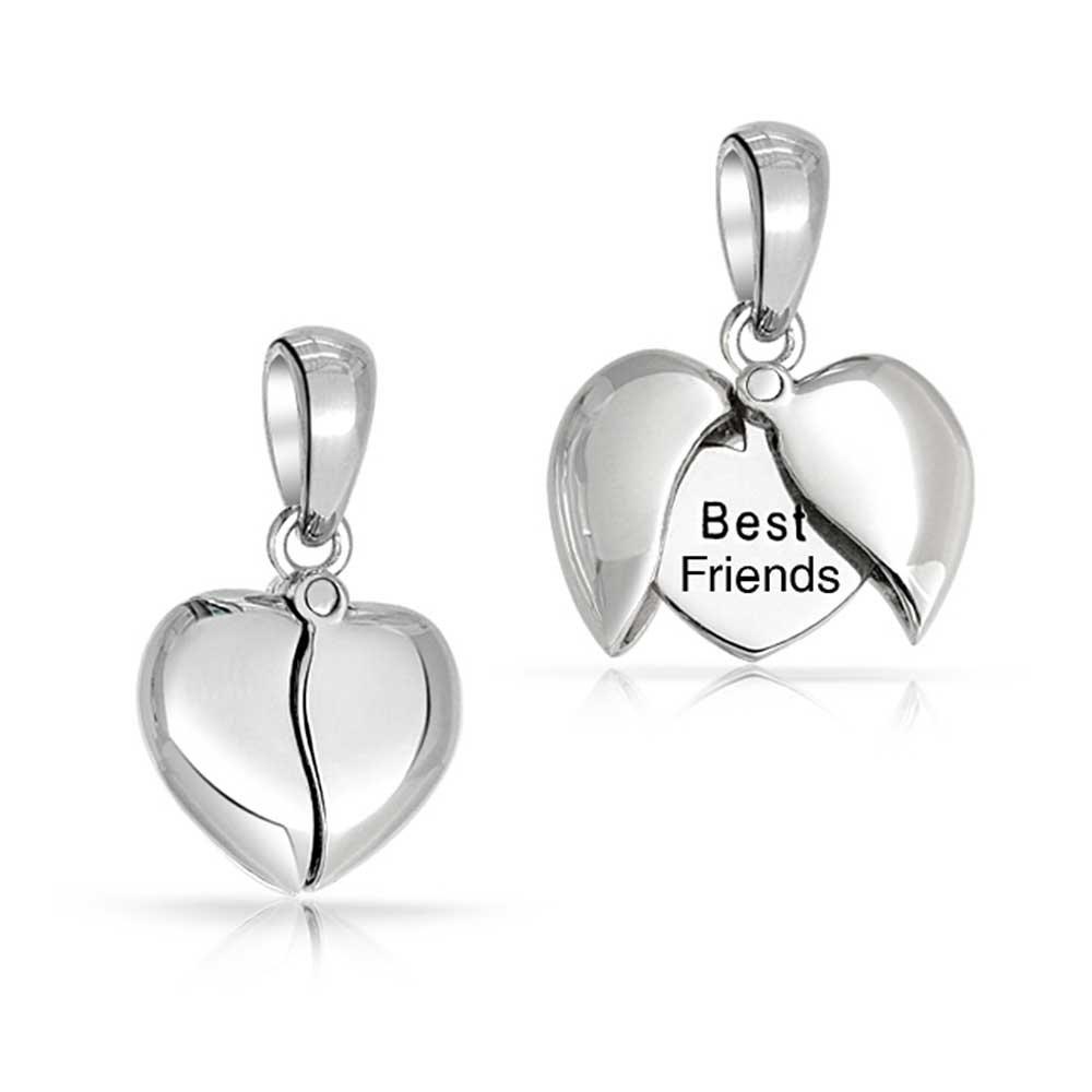 Bling Jewelry Sterling Silver Best Friends Opening Message Heart Pendant BYJ-2181