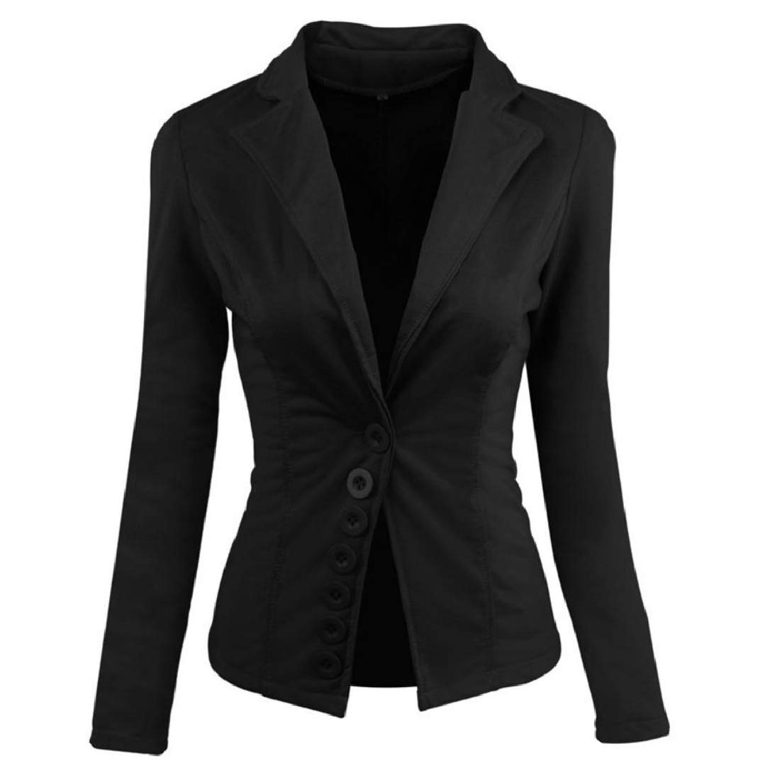 Womens Coat Outwear Single Breasted Jacket Solid Vogue Small Blazer Black S