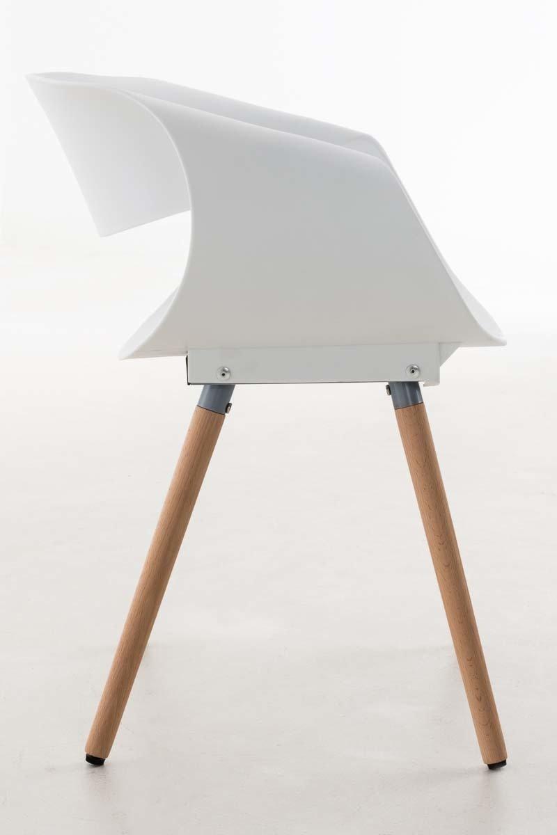 CLP Silla de Visita Tuva I Silla Retro con Asiento de Pl/ástico /& Soporte de Madera Color Blanco Silla de Comedor con Dise/ño Moderno
