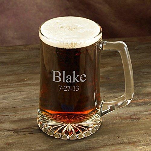 Engraved 25 Oz Sports Mug (Personalized Beer Mug - 25 oz. - Sports Beer Mug - Monogrammed Beer Mug - Groomsmen Beer Mug)