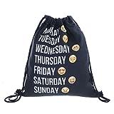 3D Digital Printing Cartoon Funny Emiji Student Creative Oxford Beam Port Backpack Drawstring Bag