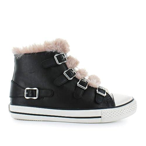 Negro Cuero Y Valko03 Mujer Amazon Zapatillas Altas Ash Zapatos ECqBwn