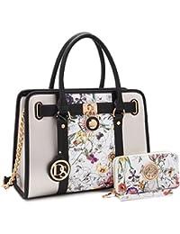 Women's Designer Satchel Handbag Two Toned Padlock Purse Top Handle Shoulder Bag w/ Chain Strap