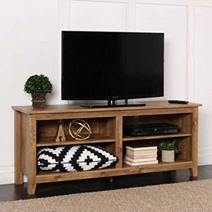Amazon Com Wood Tv Stand For Tvs Up To 60 Barn Wood Kitchen Dining