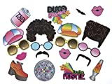 Photo Booth Props - 70s 80s Disco Fever - Disco Party Supplies Decoration - Photo Props (easy to assemble) - 20 Count