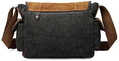 Izacu Flocc Lona bolso mensajero bolsa para hombre bolso de escuela (36*12*27cm, brown) grey