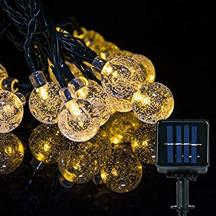 30LED Solar Garden Lights String Fairy Warm White Crystal Globe Ball Waterproof