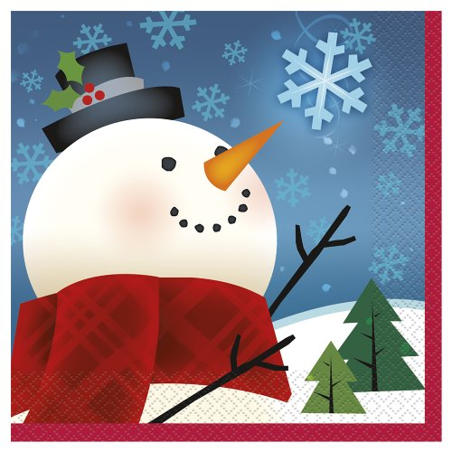 Joyful Snowman Holiday Beverage Napkins, 16ct]()