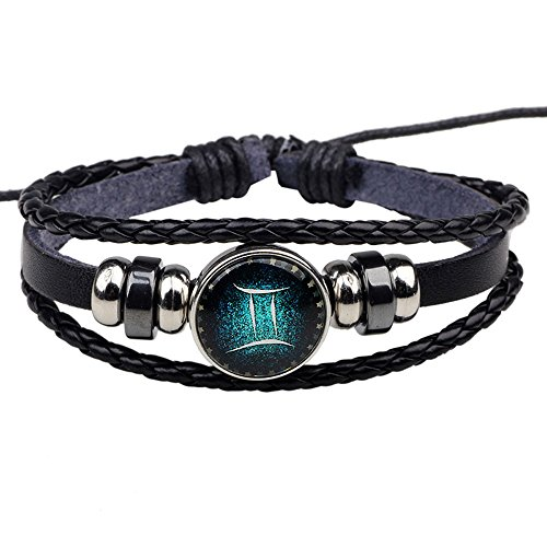 HIRIRI Hot Sale Unisex 12 Constellations Bracelet Fashion Jewelry Alloy Leather Bracelet Personality Bracelet Gift (@Pisces)