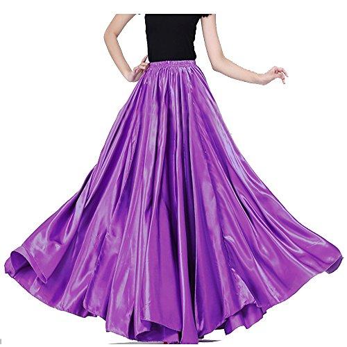 - Womens Elegant Ballroom Long Latin Belly Dance Full Circle Dance Skirt Performance Dress (Purple)