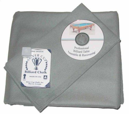 9 ' ProlineクラシックPrecutスチールグレーPool Tableフェルト布、DVD & Cueチョーク B00FFGV46I