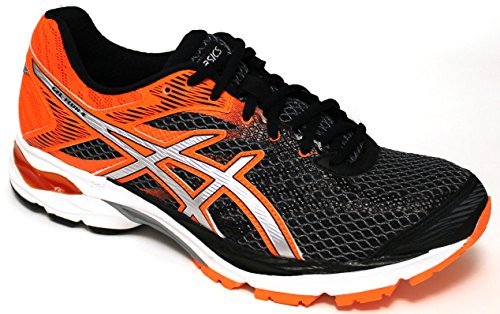 Asics Chaussures Running Homme – Gel flux 4 – t714 N-9093 – Black/Silver/Hot orange-40.5
