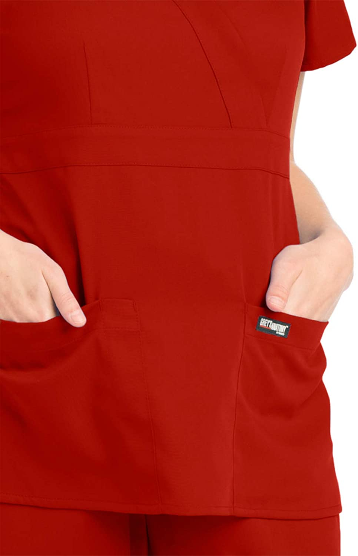 Greys Anatomy Womens Junior Fit 3 Pocket Mock Wrap Scrub Top Black 2X-Large