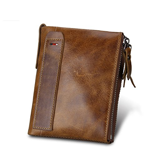 Zipper Short RFID Bag Coin Brown Wallet Money Leather Genuine Brown Men DeLamode Card Double Dollars Anti qY8Atx