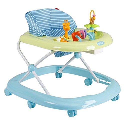 Baby Walker - Con Ruedas Multifunción Niño Anti-Rollover Bebé One-Touch Plegable Baby Walker Aprende A Manejar 3Rd Gear Ajustable,Blue