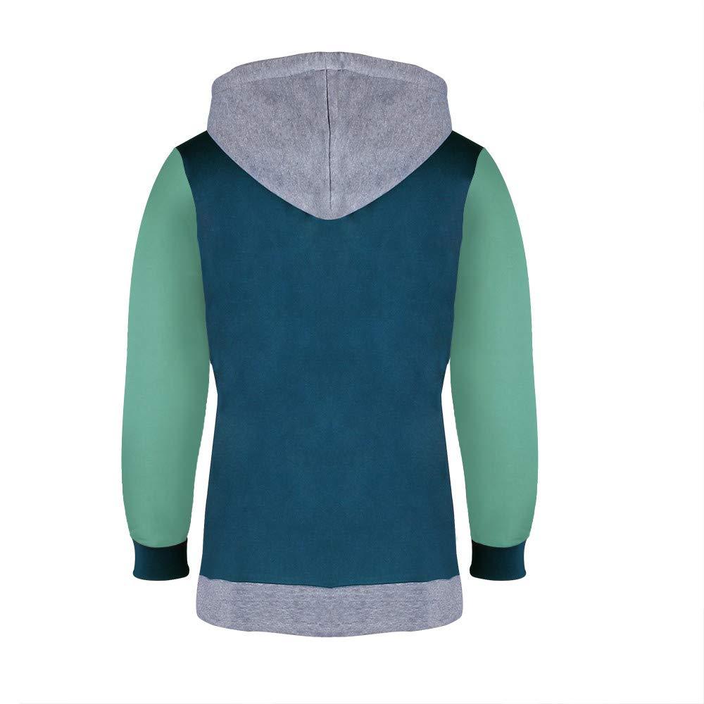 FarJing Mens Sweatshirt Long Sleeve Splicing Button Pullover Hooded Sweatshirt Tops Blouse