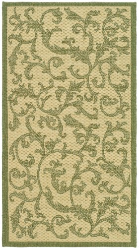Safavieh Courtyard Collection CY2653-1E01 Natural and Olive Indoor/ Outdoor Area Rug, 2 feet by 3 feet 7 inches (2' x 3'7