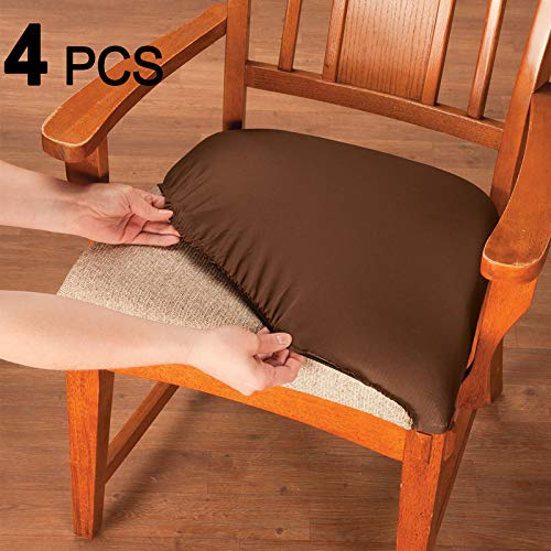 Voilamart Dining Chair Seat Covers Stretch Removable Washable Dining Chair Cover Slipcovers Soft Chair Protectors Chair Seat Cushion Slipcovers - Pack of 4, Coffee (Large Table Seats Dining 14)