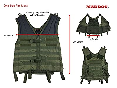 MAddog Tactical MOLLE Modular Utility Vest with Breathable Mesh Liner and Heavy Duty Zipper - Adjustable Sizing