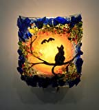 Halloween Black Cat & Bat Autumn Harvest Moon Recycled Glass Art Decorative Night Light Nightlight