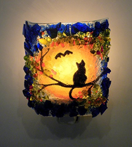 (Halloween Black Cat & Bat Autumn Harvest Moon Recycled Glass Art Decorative Night Light)