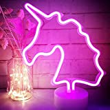 art deco pedestal - LED Unicorn Neon Light Pink Signs - XIYUNTE Room Decor Unicorn Lights with Pedestal Night Lights Battery Operated Light up Sign Bedside and Table Lamps Neon Signs for Home Decoration
