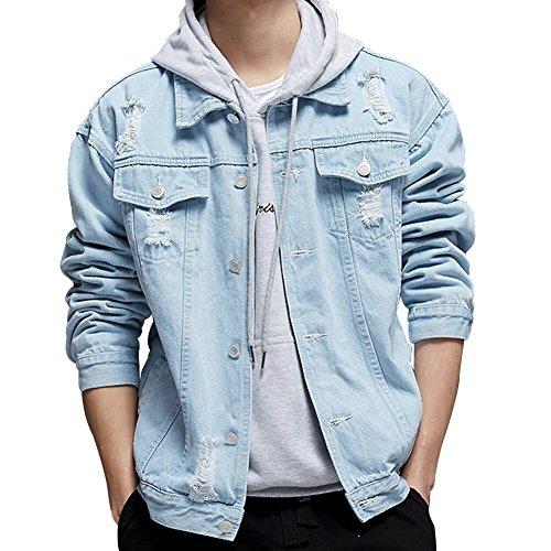 KAMA BRIDAL Men's Distressed Ripped Denim Jacket Button Down Jean Trucker Coat Light Blue M
