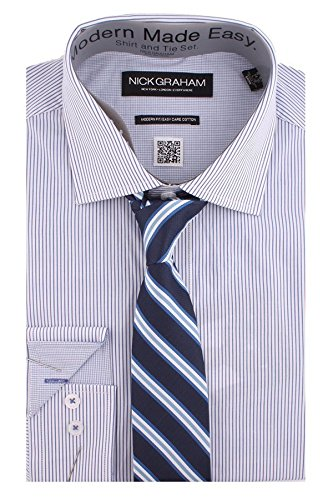Nick Graham Everywhere Men's Modern Fit Thin Stripe Dress Shirt and Bow Tie,LARGE-R,Blue/Blue Track Stripe