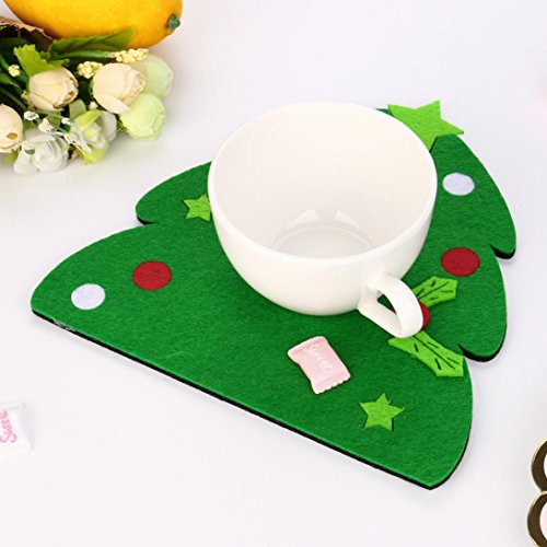 Simple Elf Costume Ideas (Iuhan Christmas Tree Hat Glove Shape Cup Cushion Holder Drink Xmas Placemat Pretty Mat (B))