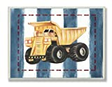 The Kids Room by Stupell Dump Truck on Blue Stripes Rectangle Wall Plaque