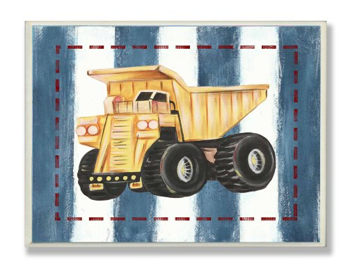 The Kids Room by Stupell Dump Truck on Blue Stripes Rectangle Wall Plaque (Side Car Dump Wood)