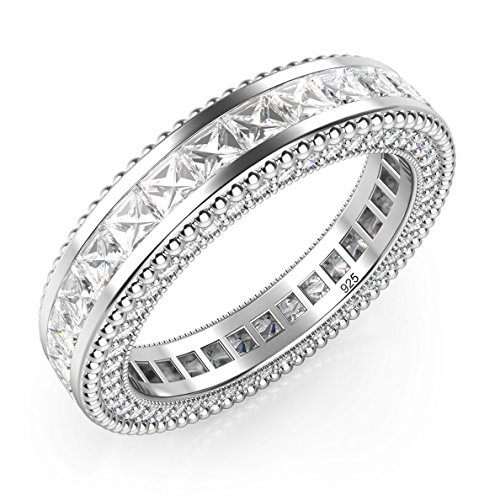 Sz 7 Sterling Silver 925 Princess Cut Cubic Zirconia CZ Milgrain Eternity Band Ring