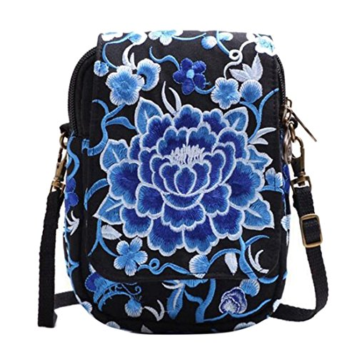 Purse Jiyaru Bag Shoulder Embroidered Blue Women Bag Crossbody Wallet Cellphone Mini Ew4qrnUE