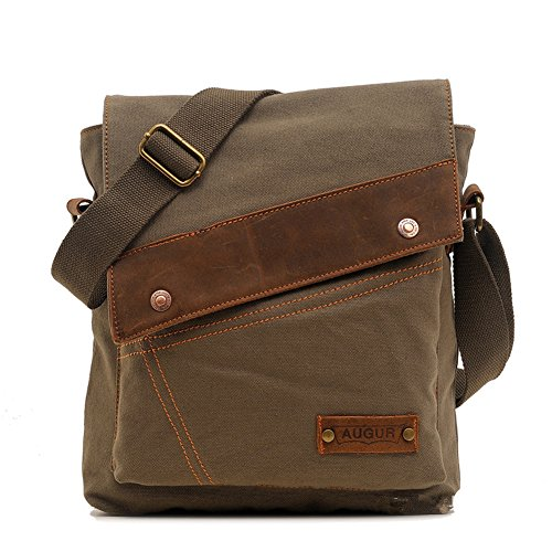 Sechunk Cotton Canvas Leather Messenger bags Shoulder Bag Crossbody Bag Satchel Bag Book bag Laptop Bag Working Bag
