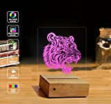 3D Illusion LED Lamp Night Light, tiger head HomeBedroom Decorative 3d Lamp RGB Full Color 44 Key Remote Control USB Cable Lamp Best Gift Desk Table Lighting Toys