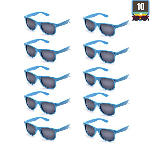 10 Packs Adult and Kids Neon Colors 80's Retro Style Sunglasses (Adult Blue)